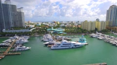 Sped up flight Miami Beach aerial marina Stock Footage