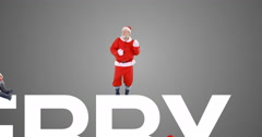 Group of santa claus dancing and performing various activity Stock Footage