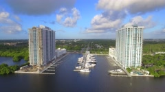 Miami real estate development and marina 4k Stock Footage