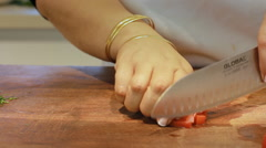 How to cut Tomatoes for Fattet hummus is typically served as breakfast Stock Footage