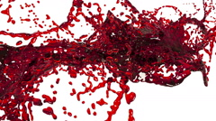 Red splash. big spilling fluid in slow motion. tinted oil Stock Footage