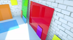 Color blanks paper on brick room. Color plastic Stock Footage