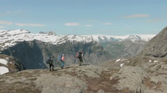 Backpackers lost the path in the mountains. Stock Footage