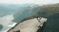 On the Trolltunga in the Norway. Stock Footage