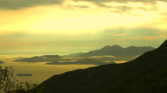 Golden ocean bay with mountain landscape. beautiful panorama view of nature Stock Footage