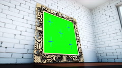 Gold antique frame in white  brick room. Green screen tracking footage Stock Footage