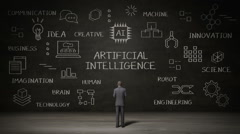 Businessman standing black wall, Handwriting icon, 'Artificial Intelligence' Stock Footage