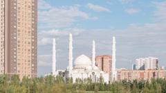 Hazrat Sultan Mosque. Day. Almaty, Kazakhstan. TimeLapse Stock Footage