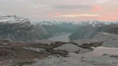 Trolltunga area, Norway. Sunset. Smooth dolly shot. Stock Footage