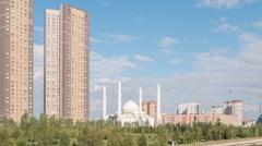 Hazrat Sultan Mosque. Day. Zoom. Almaty, Kazakhstan. TimeLapse Stock Footage