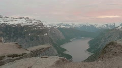 Sunset over the Trolltunga. Norway, smooth dolly shot. Stock Footage