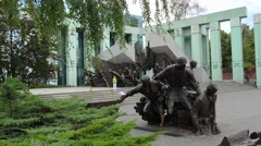 Warsaw Uprising Monument  in Warsaw, Poland. 4K. Stock Footage