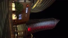 The modern center of Warsaw. Night, lights. Poland. 4K. Vertical frame. Stock Footage