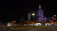 Palace of Culture and Science in Warsaw, Night, lights. Poland.  4K. Stock Footage