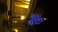 Palace of Culture and Science in Warsaw, Night. Poland. Vertical frame.  4K. Stock Footage