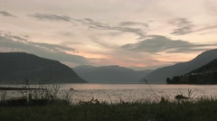 Sunset over the Norwegian fjord. Smooth slider shot. Stock Footage