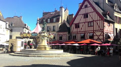 Fontain On The Square Of The Dijon City Stock Footage