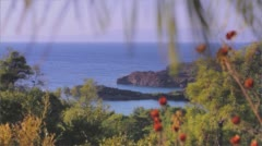 Beautiful view of Aegean Sea, mountains and rocky beach, little islands Stock Footage