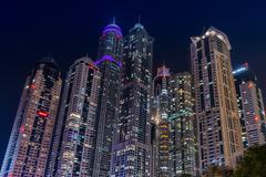 Skyscrapers in Dubai Marina Kuvituskuvat