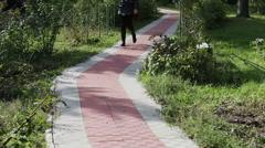 Walkway in autumn park Stock Footage