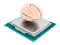Microprocessor and human brain. 3D illustration Stock Illustration