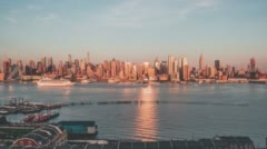 The skyline of New York City at Sunset Stock Footage
