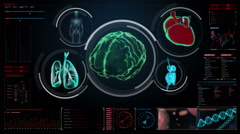Scanning brain, heart, lungs, internal organs in digital display dashboard. Stock Footage