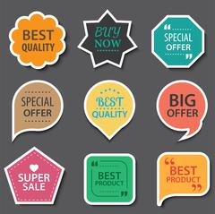 Set of commercial sale stickers, elements badges and labels collection Stock Illustration