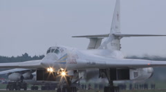 Tu-160 Russian bomber preparing for takeoff Stock Footage