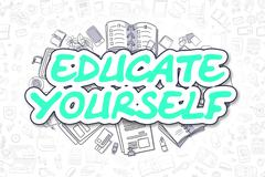 Educate Yourself - Doodle Green Word. Business Concept Piirros