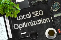 Black Chalkboard with Local SEO Optimization. 3D Rendering Stock Illustration