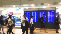 Bangkok - October 18: Donmuang Airport on October 18, 2016 the number of people  Stock Footage