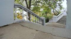 White stone staircase Stock Footage