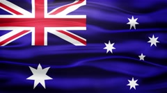Realistic Seamless Loop Flag of Australian Waving In The Wind. Stock Footage