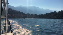 View from a Boat Crossing Lake Como, Lombardy, Italy Stock Footage