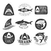 Dangerous Shark Surf Club Set Of Black And White Prints Stock Illustration