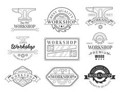 Best Wood Workshop Set Of Black And White Emblems Stock Illustration
