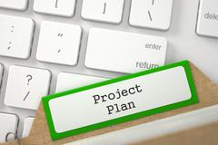 Sort Index Card with Project Plan. 3D Stock Illustration