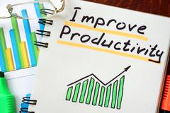 Improve Productivity written in a notepad. Business concept. Stock Photos