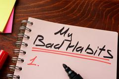 My bad habits written on a notepad. Motivation concept. Stock Photos