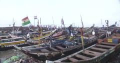 Ghanaian fishing boat Stock Footage