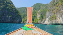 Thai boat on Phi-Phi islands. Boat trip. Thailand Stock Footage