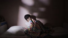 The boy is afraid of ghosts at night. nightmares of the child Stock Footage