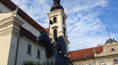 Historical monuments. Statue of a horse with a rider in Brno in the Czech Republ Stock Footage