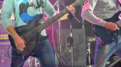 Guitarist Playing on the Stage at a Rock Concert Stock Footage