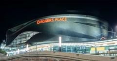 Motion Timelapse of Rogers Place in Edmonton Alberta. Stock Footage