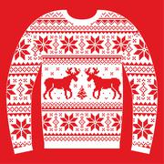 Ugly Christmas jumper or sweater with reindeer and snowflakes Stock Illustration