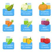 Baby Food Infographic Set Of Stickers Stock Illustration