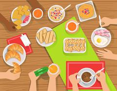 People Eating Different Breakfast Meals Together View From Above Stock Illustration