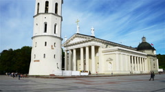 Cathedral of Vilnius, Lithuania. Time-lapse of people Stock Footage